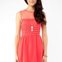 Vibrant Lace Dress in Coral :: tobi