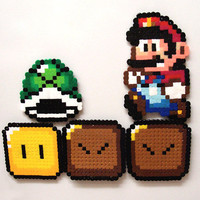 Perler Bead Magnet Sprites  Basic Super Mario by TheTealBoutique