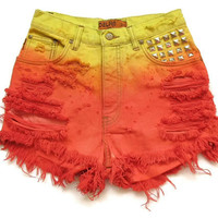 High waisted ombre shorts XS by deathdiscolovesyou on Etsy