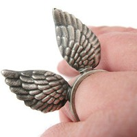 I'll Fly Away Wing Ring Hand Cast in Sterling Silver by rubygirl
