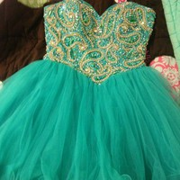 Adorable Sweetheart Green Ball Gown Short Prom Dress
