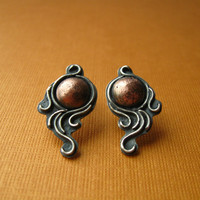 Art Nouveau Sterling Silver Earrings with Copper and by JaneFont