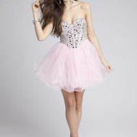 Sweet 16 Dresses - Short Strapless Tulle Dress with Corset from Camille La Vie and Group USA