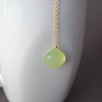 Lime Chalcedony Necklace Gold Filled by BelleReveDesigns on Etsy