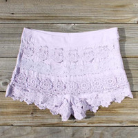 Lilac Grove Lace Shorts, Women&#x27;s Sweet Bohemian Clothing