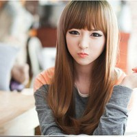 Fancy Long Healthy Hair Wig (Model: Jf010321) (Light Brown)