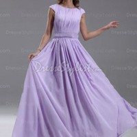 Find affordable A-line Scoop Chiffon Floor-length Lavender Sashes / Ribbons Kate Middleton Style