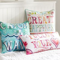 Watercolor Sentiment Pillow Cover