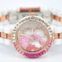 Fashion Swarovski Rhinestone Flower Watch