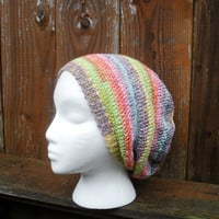 Spring Pastel Rainbow Striped Crochet Slouchy Tam by luvbuzz
