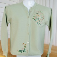 Sweatshirt jacket: sage green/cherry blossom embroidery. Sizes 2X-5X.