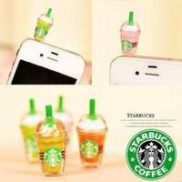 1 x StarBucks Frappuccino Ice Coffee Cell Phone Charm 3.5mm Anti Dust Earphone Jack Plug iphone 4 4S (No 1): Cell Phones & Accessories