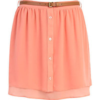 Pink button through layered mini skirt
