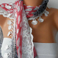 Print  Scarf    Headband Necklace Cowl with Lace Edge  by fatwoman/88863154