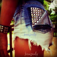 This picture belong to Jeansonly,High waisted denim shorts,studded ombre cut off shorts by Jeansonly