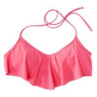 Junior's Ruffle Bandeau Swim Top -Coral L