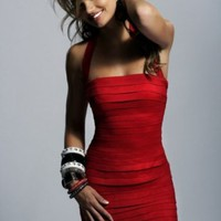 Mini Length Halter Red 1429 Homecoming Dress With Tiered