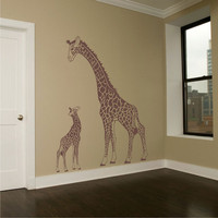 Wall Decal Giraffe Mother Looking Down over her Baby 2 Vinyl Nursery Art Wall Decor for your Home