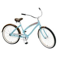 Nirve Island Flower Women's/Girl's 24-Inch Single Speed Cruiser Bike (Coral Teal)