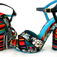 Desigual US 9 40 Pam 2 Sandals Heels - Rainbow Stripe & Floral Canvas Leather