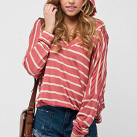 Got Your Back Striped Hoodie in Berry :: tobi