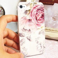 White Color with Flower Painting Pattern Case for iPhone4/4s [782]