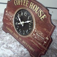 Amazon.com: Tin Coffee House Sign / Clock: Home & Kitchen