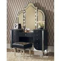 Hollywood Swank Black Vanity Set with Mirror By Aico Amini