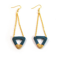 Teal and gold triangle earrings, geometric dangle earrings, recycled cardboard