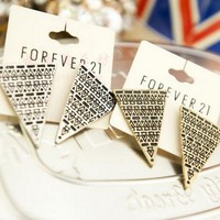 Vintage ZigZag Triangles Pattern Earrings Golden Plated[636]