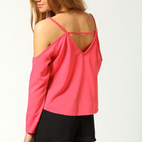 Beatrice Cut Out Shoulder Button Through Blouse