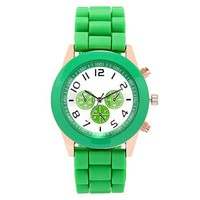 Dark Green Jelly Silicone Strap Quartz Wrist Watch