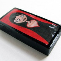 Recycled Domino Keychain or Pendant with Black and Red Queen of Hearts