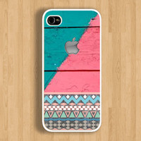 Aztec and Apple on Two Tones Wood Design Case : Iphone 4/4s case Iphone 5 case