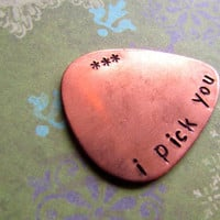 Custom Hand Stamped Copper Guitar Pick- Pick Your Own Phrase and Font