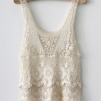 Lace crochet top beige