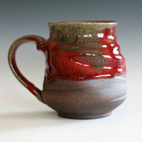 Large Red Coffee Mug,  16 oz, handmade ceramic cup, tea cup, coffee cup