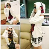 Korean Womens Cute Hoodie Pullover Sweatshirt Outerwear Long Tops Unique Musical