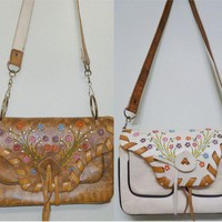REVERSIBLE Tooled Leather Tan and Cream Shoulderbag with Painted Flowers and Removable Strap