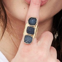 Treasure Blue - Triple Quartz Druzy Ring - RINGS - ACCESSORIES
