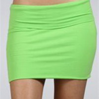 Lime Green Body Con Mini Skirt