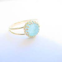 Gold opal ring gold ring with pacific opal stone by MoonliDesigns