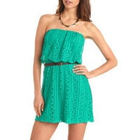 Belted Crochet Tube Dress: Charlotte Russe