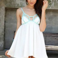 Ivory Sleeveless Mini Dress with Cutout Mint Panel Top Detai