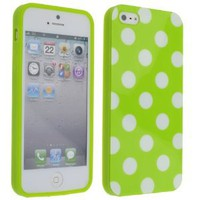 Amazon.com: Cute Green White Wave Dots Point Soft Silicone Case Cover for iPhone 5: Cell Phones & Accessories