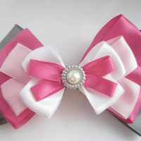 Pink Hair Bow w/ Gem