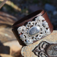 New - Buckle Up Designs - Leather Cuff - Up cycled Leather Cuff Bracelet, Western, Rustic