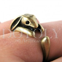 Miniature Bunny Rabbit Ring in Light Bronze Sizes 5 to 9 available | dotoly - Jewelry on ArtFire