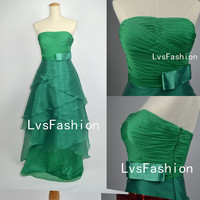 Strapless Floor Length Tiered Organza Green Prom by LvsFashion