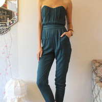 Hunter Green Strapless Jumpsuit